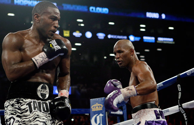 48-year-old Bernard Hopkins (right) defeated 31-year-old Tavoris Cloud in March.