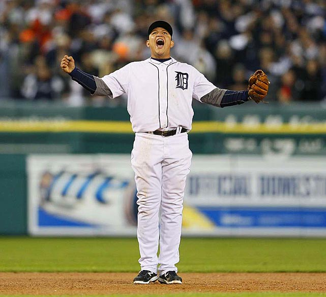 An overjoyed Cabrera shows his emotion during Game 3 of the ALCS.