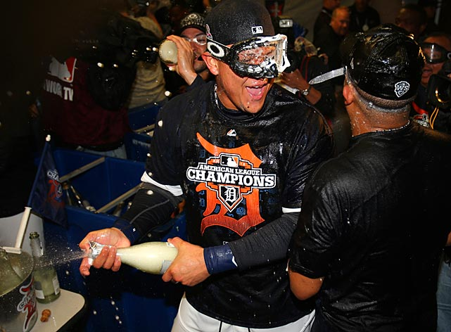 Cabrera celebrates in the locker room after the Tigers won the ALCS.