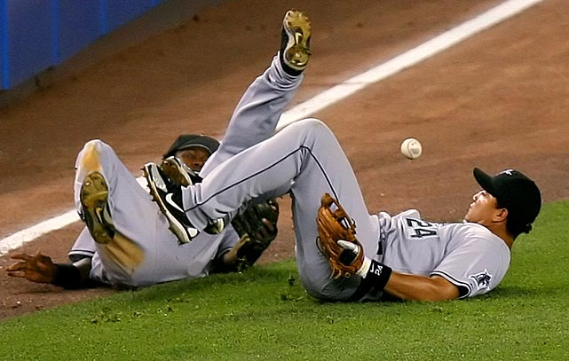 Cabrera and Hanley Ramirez misplay a pop up by Jorge Posada during a 2006 game at Yankee Stadium.
