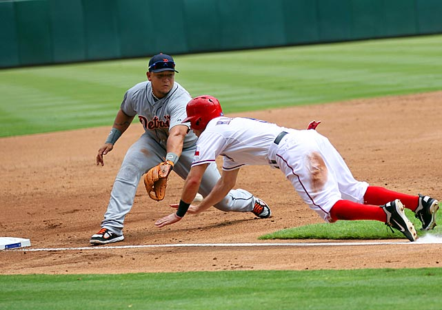 Cabrera missed the ball on this play at third and Ian Kinsler of the Rangers went on to score.