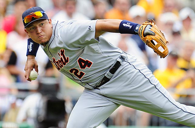Cabrera throws to first during Interleague play against the Pittsburgh Pirates.
