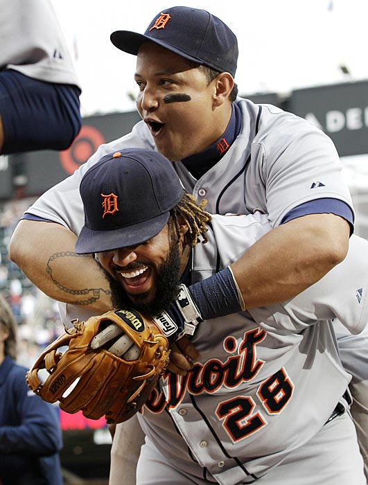 Cabrera hitches a ride on Prince Fielder after Fielder's two-run homer gave Detroit a 2-1 win over the Twins. Cabrera was moved back to third base that season after the Tigers signed Fielder.