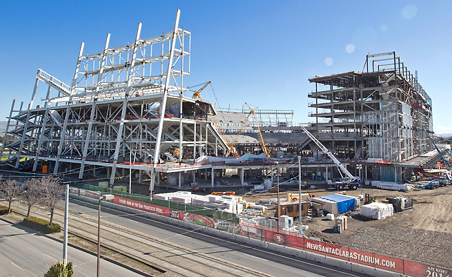 The 49ers' new stadium in Santa Clara will be ready for the start of the 2014 season.