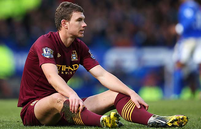 Edin Dzeko led Manchester City with 14 goals during the Premier League season.