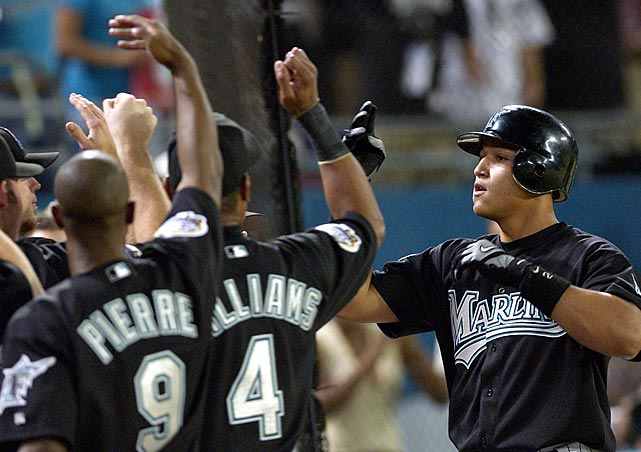 With the 20-year-old Cabrera batting cleanup, the Marlins went on to win the 2003 World Series. In Game 4 of the Fall Classic, he hit a two-run home run (pictured) in his first career at-bat against Roger Clemens, to help propel Florida to a Series-tying victory.