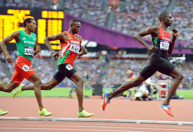 David Rudisha (right) lowered his own world record in the 800 meters at the Olympics last summer.