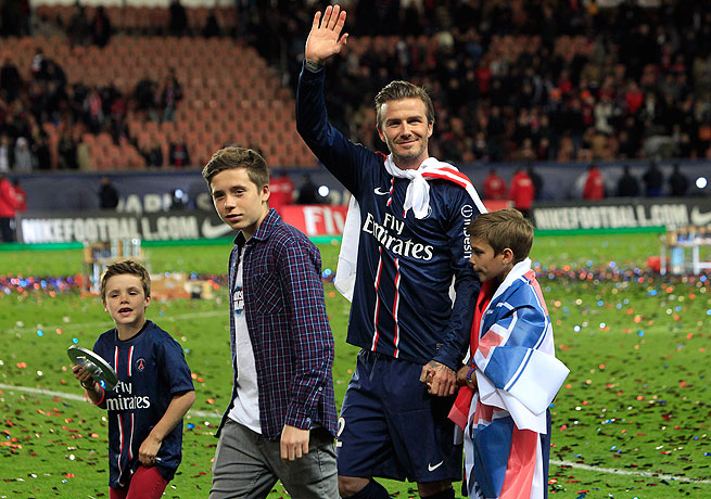 David Beckham was showered with applause and confetti after his final match with PSG on May 18.