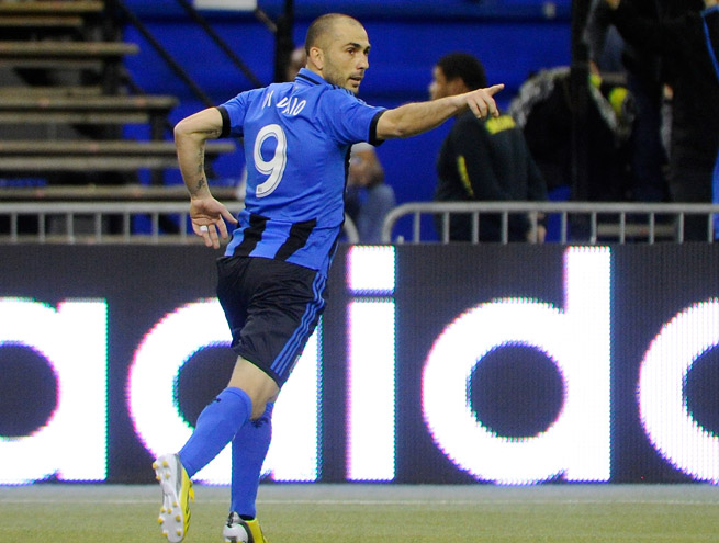 Marco Di Vaio scored three times against Philadelphia, all before halftime, in Montreal's 5-3 win.