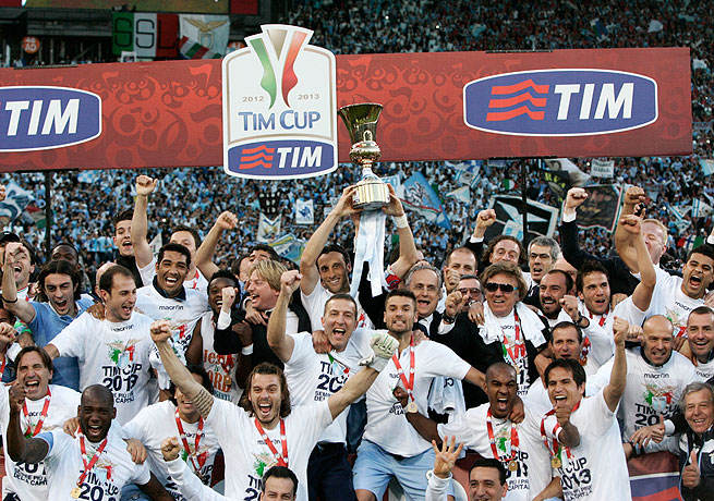 Lazio kicks off the celebrations after downing its city rivals Roma in the Coppa Italia final.