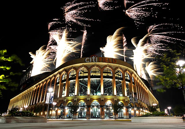 Fireworks explode over Citi Field after a game between the New York Mets and the Atlanta Braves.