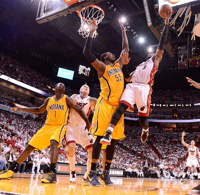 Miami's Dwyane Wade floats a shot over Indiana's Roy Hibbert during Game 2 of the Eastern Conference finals.