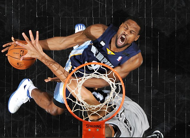 The Grizzlies' Tony Allen drives to the basket for a contested layup during Game 2 of the Western Conference Finals. The Spurs would eventually sweep the Grizzlies in four games.
