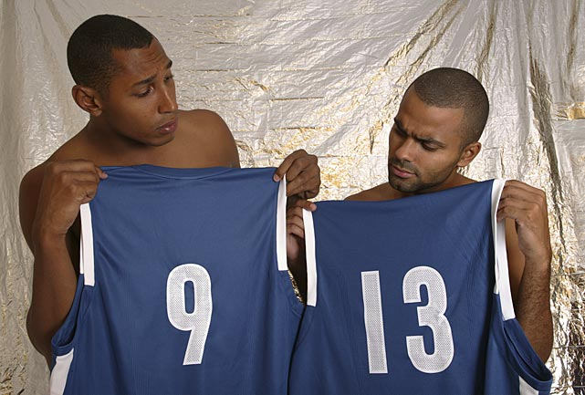 Boris Diaw and Parker pose for a photo shoot with their French national team jerseys. Parker has played in six FIBA European Championship tournaments for France and one Olympics.