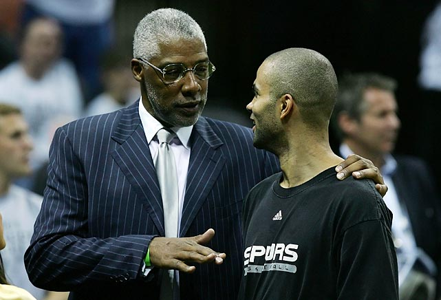 Hall of Famer Julius Erving talks with Tony Parker during the 2007 NBA Finals. The Spurs would go on to defeat the Cleveland Cavaliers in four games.