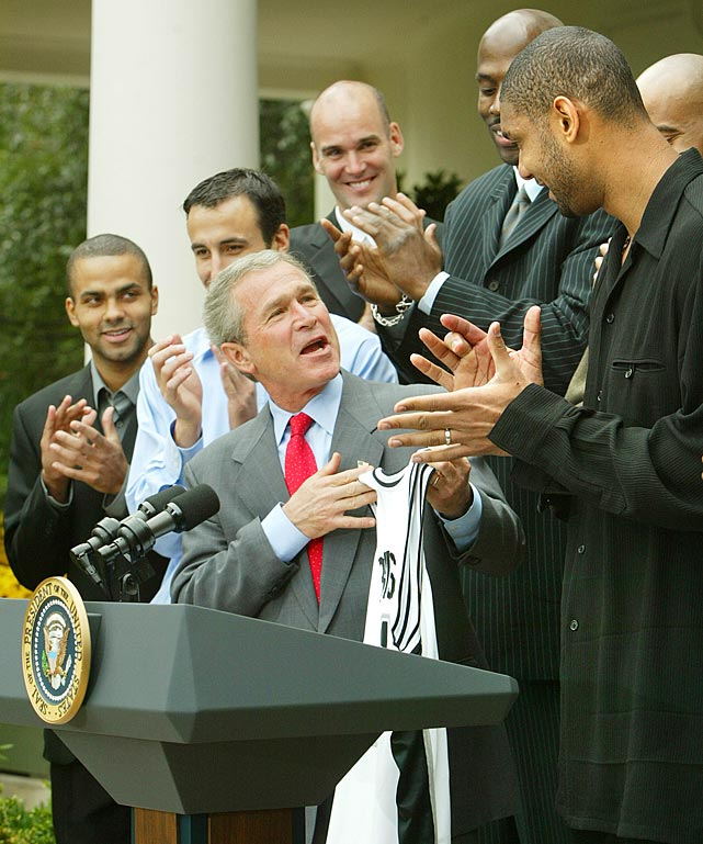 President George W. Bush greeted the 2003 NBA champions in the Rose Garden.