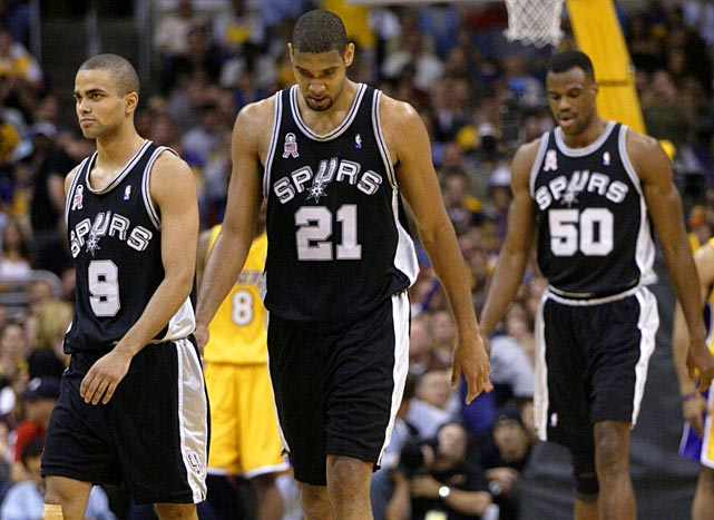 The Spurs, with a core of Parker, Tim Duncan and David Robinson, were eliminated by the Lakers in five games during the 2002 Western Conference semifinals.