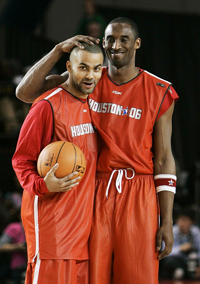 Parker jokes with Kobe Bryant during a 2006 NBA All-Star practice. That year marked the first of Parker's five All-Star Game appearances ('06, '07, '09, '12, '13).