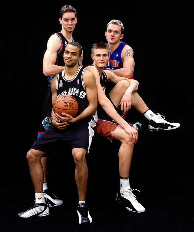 The 2002 Rookie Challenge included four international players (clockwise from left): Pau Gasol, Zelijko Rebraca, Andrei Kirilenko and Tony Parker.