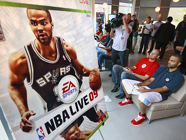 The 2009 version of NBA Live featured Parker on the cover. He made a visit to Electronic Arts studios in Burnaby, British Columbia, Canada, to give it a test.