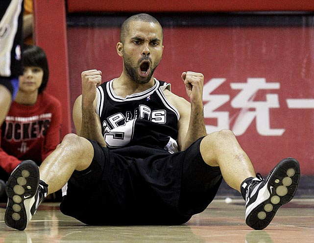 Parker celebrates making a basket after being fouled during a 2009 game against the Houston Rockets.