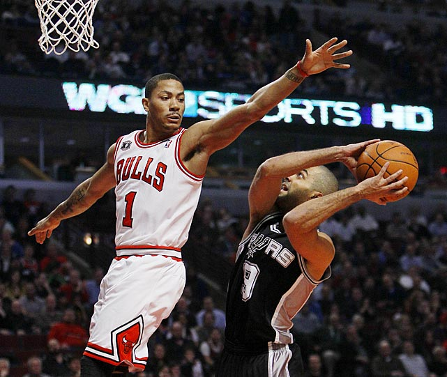 Parker waits for Chicago Bulls guard Derrick Rose to pass by during a February 2011 regular season game in Chicago.