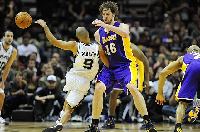 Parker runs into the Lakers' Pau Gasol during a 2010 game in San Antonio.