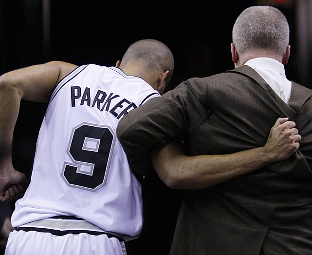 Parker is helped off the court after injuring his ankle during a 2008 game against the Miami Heat.