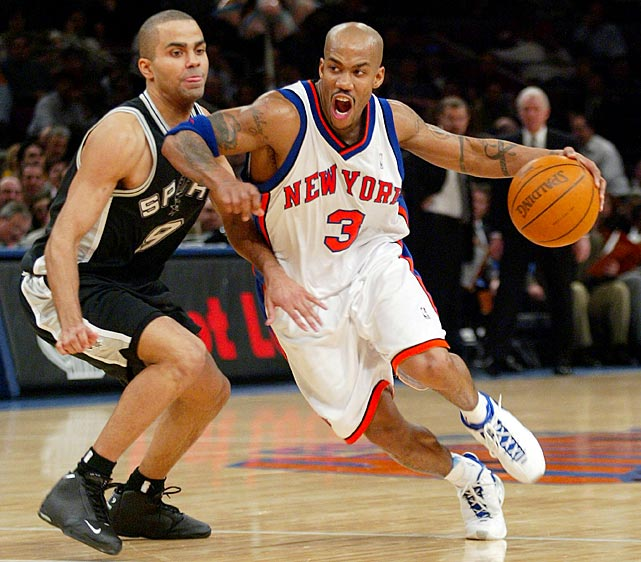 Stephon Marbury tries to get past Parker during a January 2004 game in Madison Square Garden.