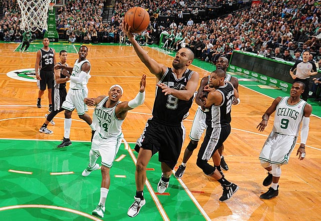 Parker goes to the basket against the Celtics' Paul Pierce during a November regular season game. The Spurs would go on to finish 58-24, the second-best record in the West.