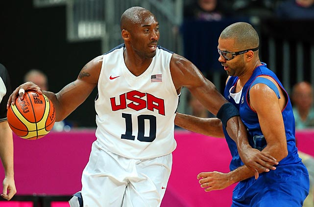 Kobe Bryant drives against Parker during their game on Day 2 of the London 2012 Olympic Games. The U.S. went on to win the gold again; France lost to France in a quarterfinal.
