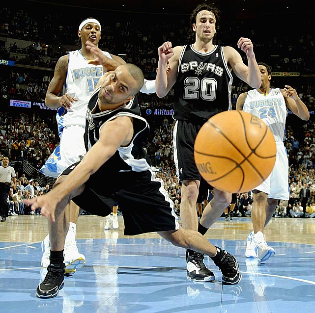 Parker misses a loose ball against the Denver Nuggets in Game 3 of the 2005 Western Conference quarterfinals. San Antonio won the series 4-1.