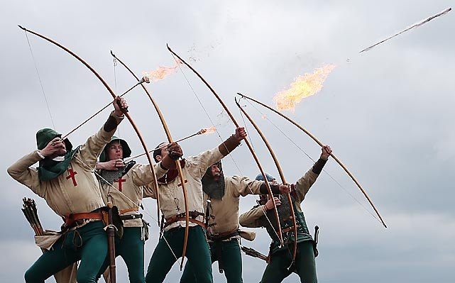 Clad in their natty Tudor attire, the merry archers fired a volley of flaming arrows from Southsea Castle to mark the opening of the new Mary Rose Museum at Portsmouth Historic Dockyard. Not surprisingly, the museum burned to the ground shortly thereafter.