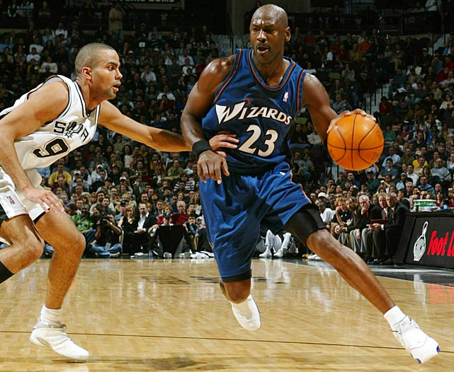 Parker experienced the challenge of guarding Michael Jordan in 2002. The Spurs won the game, with Jordan's 16 points being overshadowed by Parker's 21.