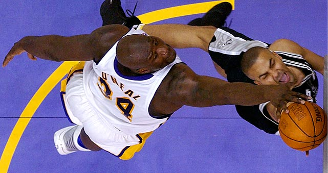 Shaquille O'Neal blocks Parker during Game 3 of the 2004 Western Conference semifinals. Los Angeles went on to win the series 4-2.