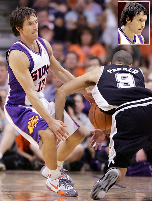 Steve Nash and Parker famously collided during the 2007 Western Conference semifinals, with Nash suffering a nasty gash on the bridge of his nose.