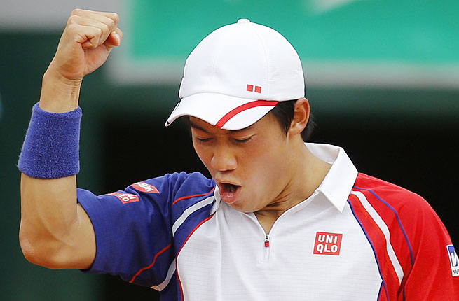 The 13th-seeded Kei Nishikori beat No. 24 Benoit Paire of France 6-3, 6-7 (3), 6-4, 6-1 Saturday.