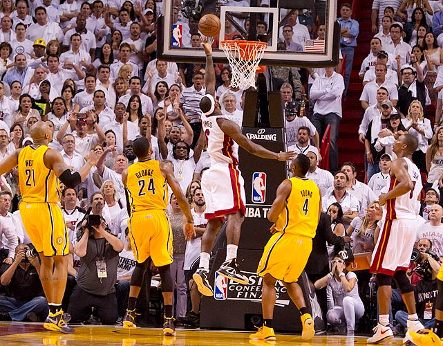 James capped off a triple-double (30 points, 10 assists, 10 rebounds) with a buzzer-beating, game-winning layup in overtime that gave the Heat a win in Game 1 of their Eastern Conference finals series against the Pacers. According to ESPN Stats & Information, James was the first player in NBA playoff history to record a triple-double and buzzer-beating game-winner in the same game.