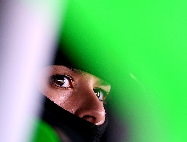 Danica Patrick peeks out of the #10 GoDaddy Chevrolet during practice for the NASCAR Sprint Cup Series FedEx 400 at Dover on June 2.