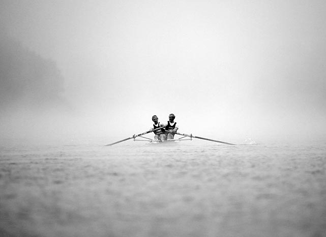 Hamish Bond and Eric Murray of the Elite Men's Pair cut through the fog during the Winter Series regatta on May 31 in Cambridge, New Zealand.