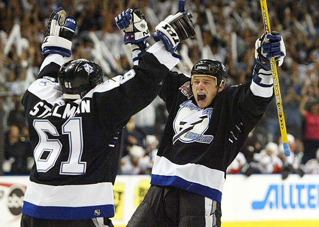 The Russian winger was a 17-goal scorer in 2003-04, overshadowed by Lightning stars Martin St. Louis, Brad Richards and Vincent Lecavalier. But in the playoffs, Fedotenko equaled Richards' team-leading 12 tallies in 22 games, finishing second in playoff scoring (one behind Calgary's Jarome Iginla) and ninth in scoring. None of Fedotenko's goals were bigger than the pair he scored in Tampa Bay's 2-1 win over Calgary in Game 7 of the Stanley Cup Final.