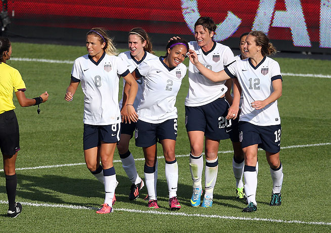 Sydney Leroux (2) celebrates with her teammates after scoring against Canada.