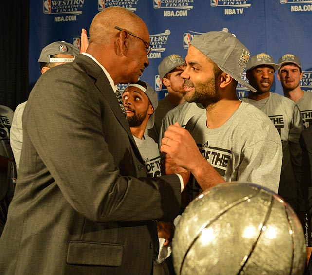 Spurs legend and NBA Hall of Famer George Gervin was on hand to congratulate Parker after the Spurs eliminated Memphis and advanced to the NBA Finals.