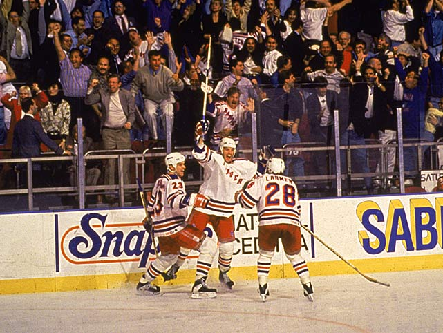 "Broadcaster Howie Rose's now famous cry of ""Matteau! Matteau! Matteau!"" heralded one of the most famous goals in Rangers history: a wrap-around that beat New Jersey's Martin Brodeur in double OT of Game 7 in the 1994 Eastern Conference Finals as New York marched to its first Stanley Cup in 54 years. It was the left-winger's second 2-OT strike in that series, the first one coming in Game 3. A trade deadline acquisition from Chicago that year, Matteau produced six goals and three assists in 23 playoff games, earning his place in Rangers lore."