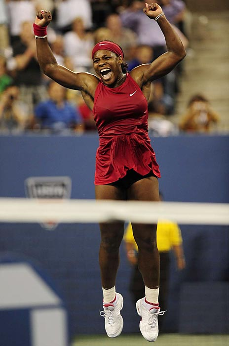 Serena reacts after defeating Jelena Jankovic to win the 2008 U.S. Open title.