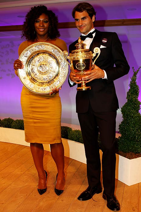 Wimbledon singles champions Serena Williams and Roger Federer at the Wimbledon Championships 2012 Winners Ball. It marked her third Wimbledon title in four years.