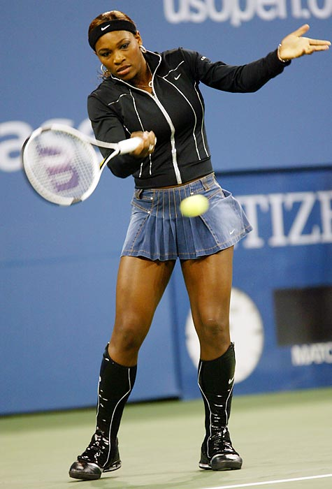Serena turned heads again at the 2004 U.S. Open, when she took to the court in this outfit. Officials told her to ditch the knee-high boots.