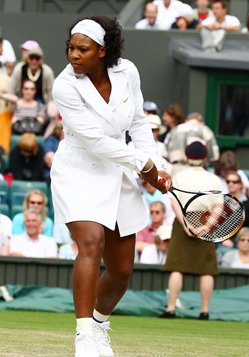 Serena unveiled her trench coat look at Wimbledon in 2008.