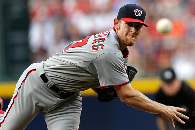Stephen Strasburg left his last start against the Braves after two innings because of back pain.