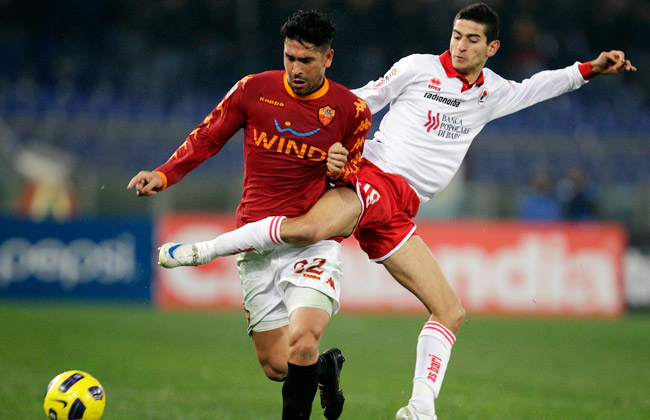 Former Bari captain Francesco Caputo (right) has been charged with match-fixing.